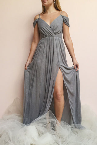 Cephee Grey Glitter Dress | Robe à Brillants | Boutique 1861 on model