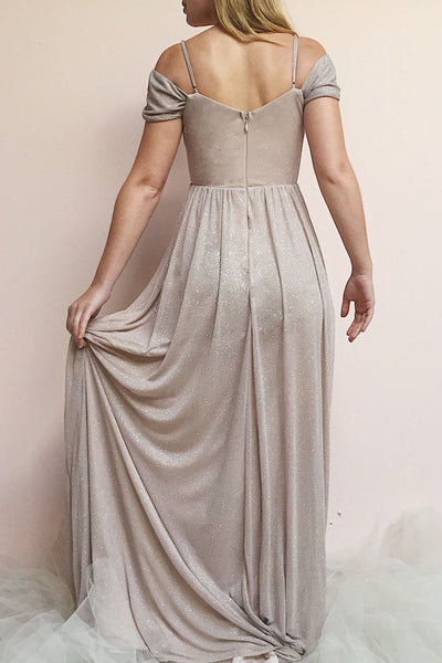 Cephee Taupe Glitter Dress | Robe Maxi | Boutique 1861 model back