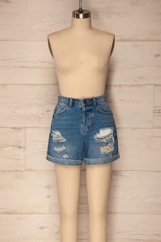 Cernuc Light Blue High Waisted Denim Shorts | La Petite Garçonne