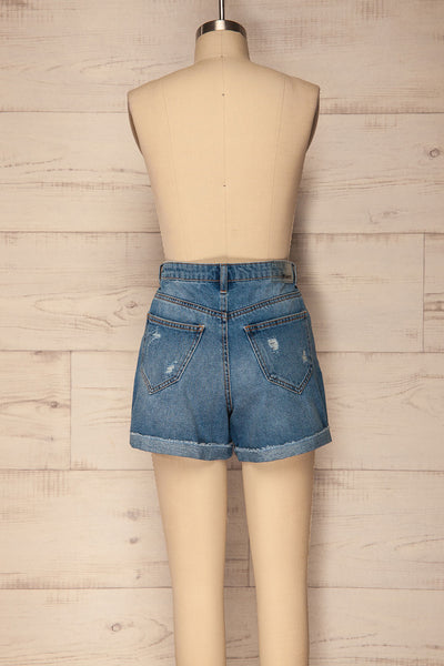 Cernuc Light Blue High Waisted Denim Shorts | La Petite Garçonne 5