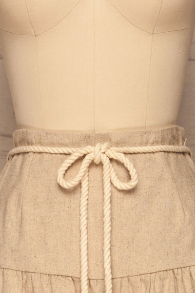 Cesena Beige Linen Shorts with Belt | La petite garçonne front close-up