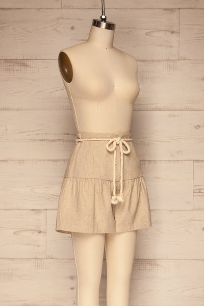 Cesena Beige Linen Shorts with Belt | La petite garçonne side view