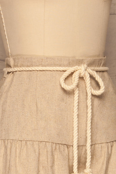 Cesena Beige Linen Shorts with Belt | La petite garçonne side close-up
