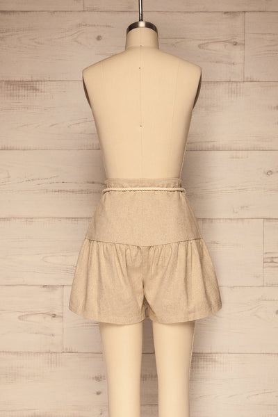 Cesena Beige Linen Shorts with Belt | La petite garçonne back view
