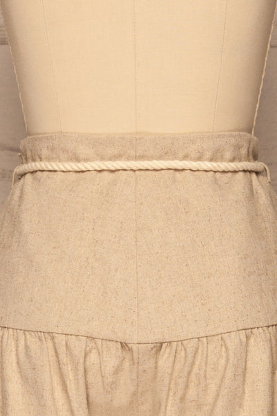Cesena Beige Linen Shorts with Belt | La petite garçonne back close-up