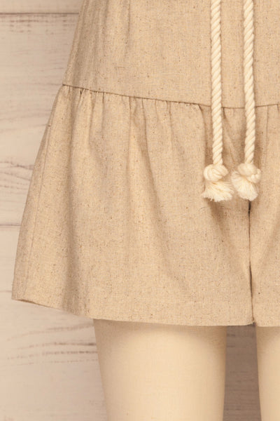Cesena Beige Linen Shorts with Belt | La petite garçonne bottom