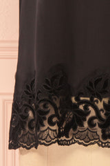 Chaitali Black Top with Laser Cutout and Velvet | Boutique 1861