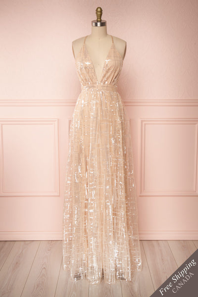 Chandrima Beige Maxi Dress w/ Plunging Neckline | Boutique 1861