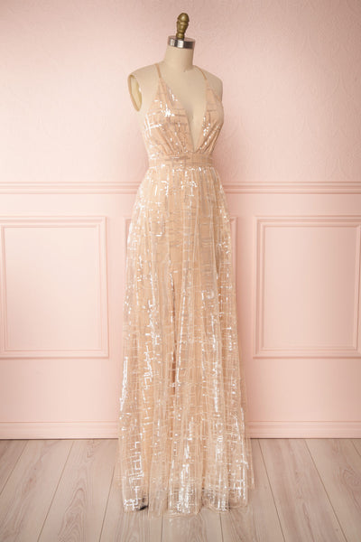 Chandrima Beige Maxi Dress w/ Plunging Neckline | Boutique 1861 side view