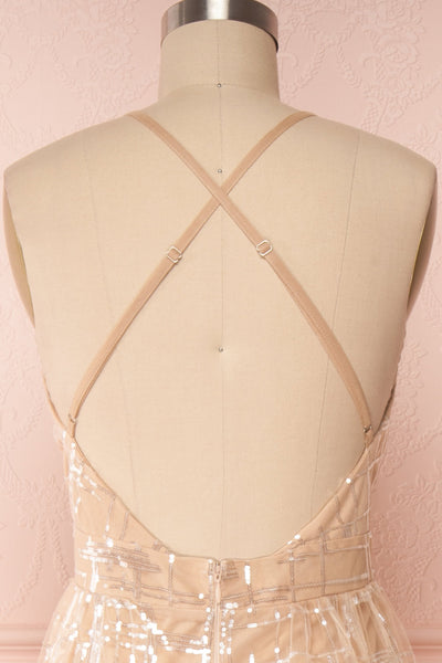 Chandrima Beige Maxi Dress w/ Plunging Neckline | Boutique 1861 back close up