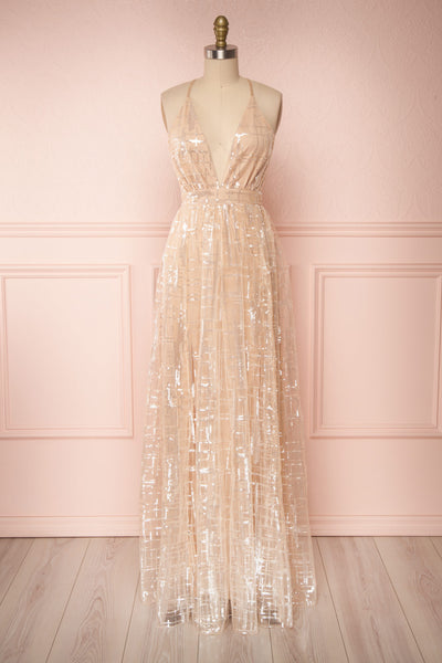 Chandrima Beige Maxi Dress w/ Plunging Neckline | Boutique 1861 front