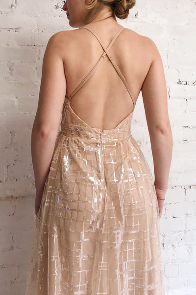 Chandrima Beige Maxi Dress w/ Sequins Tulle | Boutique 1861 model close up