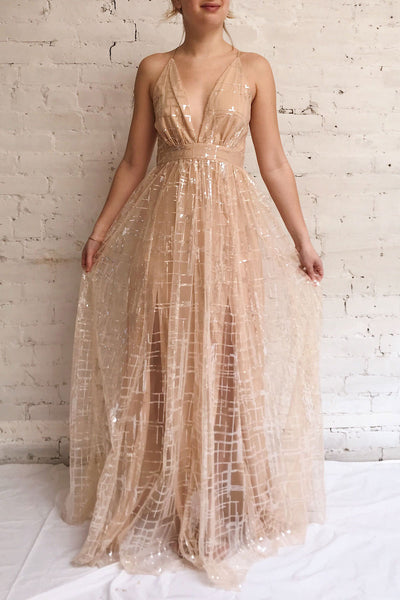 Chandrima Beige Maxi Dress w/ Sequins Tulle | Boutique 1861 model look