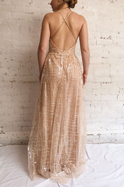Chandrima Beige Maxi Dress w/ Sequins Tulle | Boutique 1861 model back