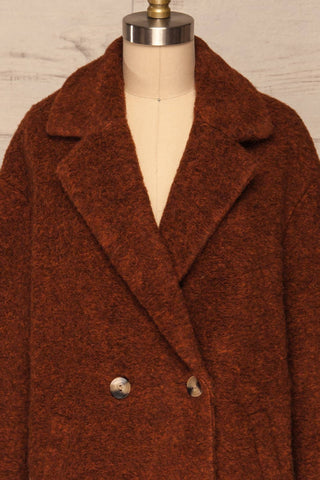 Chania Rust Brown Double Breasted Wool Coat | La Petite Garçonne front close-up