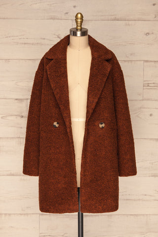 Chania Rust Brown Double Breasted Wool Coat | La Petite Garçonne front view open