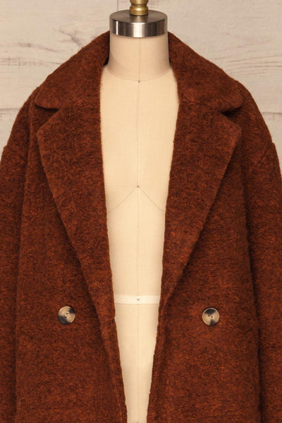 Chania Rust Brown Double Breasted Wool Coat | La Petite Garçonne front close-up open