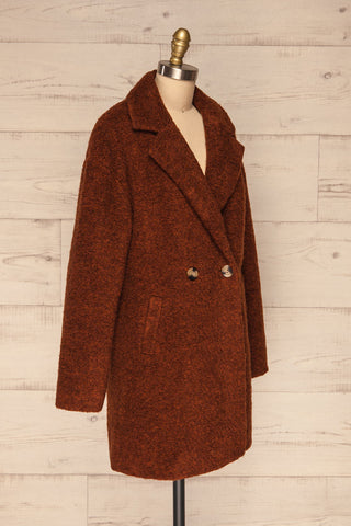 Chania Rust Brown Double Breasted Wool Coat | La Petite Garçonne side view