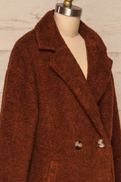 Chania Rust Brown Double Breasted Wool Coat | La Petite Garçonne side close-up