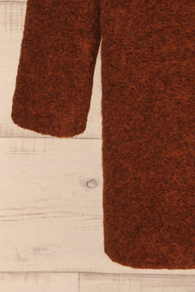 Chania Rust Brown Double Breasted Wool Coat | La Petite Garçonne bottom close-up