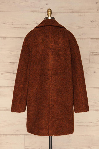 Chania Rust Brown Double Breasted Wool Coat | La Petite Garçonne back view
