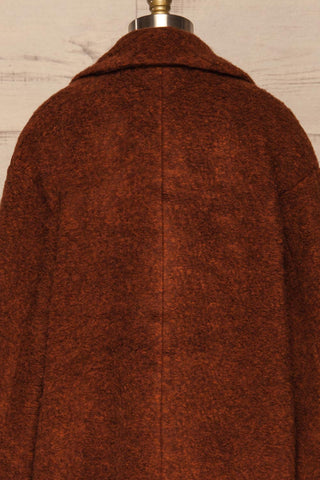 Chania Rust Brown Double Breasted Wool Coat | La Petite Garçonne back close-up
