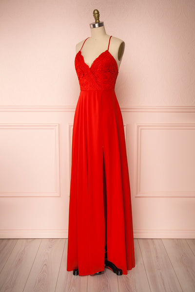 Chantay Red A-Line Maxi Dress w/ Lace | Boutique 1861 side view