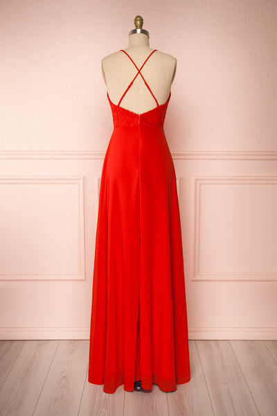 Chantay Red A-Line Maxi Dress w/ Lace | Boutique 1861 back view