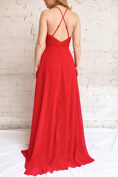 Chantay Red A-Line Maxi Dress w/ Lace | Boutique 1861 on model