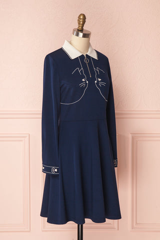 Chaoula Navy A-Line Dress with Cat Embroidery | Boutique 1861