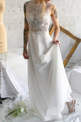 Chasya Ivory & Gold Embroidered A-Line Bridal Dress | Boutique 1861