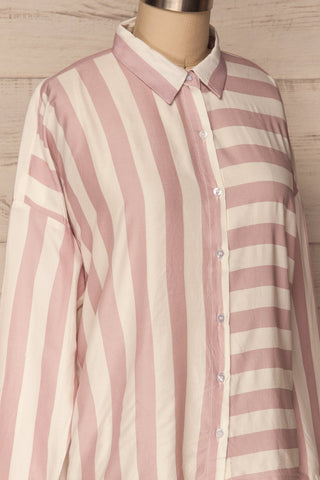 Chavaes Pink Lilac Striped Button-Up Shirt | La Petite Garçonne 4