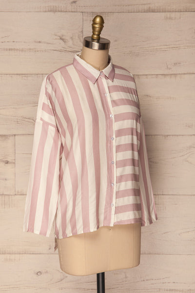 Chavaes Pink Lilac Striped Button-Up Shirt | La Petite Garçonne 3