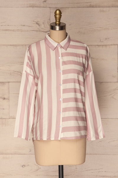 Chavaes Pink Lilac Striped Button-Up Shirt | La Petite Garçonne 1