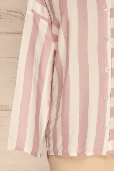Chavaes Pink Lilac Striped Button-Up Shirt | La Petite Garçonne 7