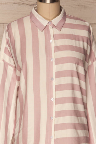 Chavaes Pink Lilac Striped Button-Up Shirt | La Petite Garçonne 2
