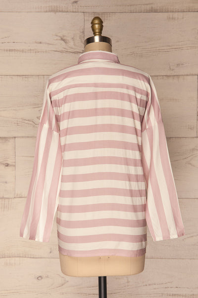 Chavaes Pink Lilac Striped Button-Up Shirt | La Petite Garçonne 5
