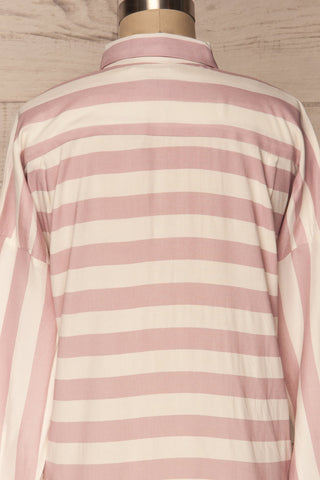 Chavaes Pink Lilac Striped Button-Up Shirt | La Petite Garçonne 6