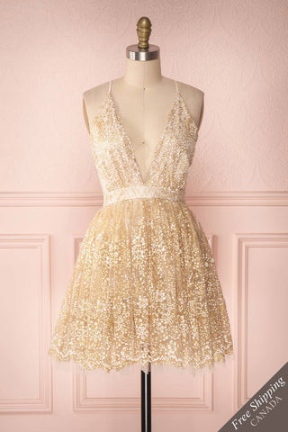 Chayli Light White & Golden Glitter Tulle Party Dress | Boutique 1861