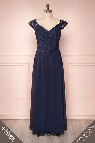 Cheana Bleuet Navy Blue Chiffon & Lace Plus Size Gown | Boutique 1861