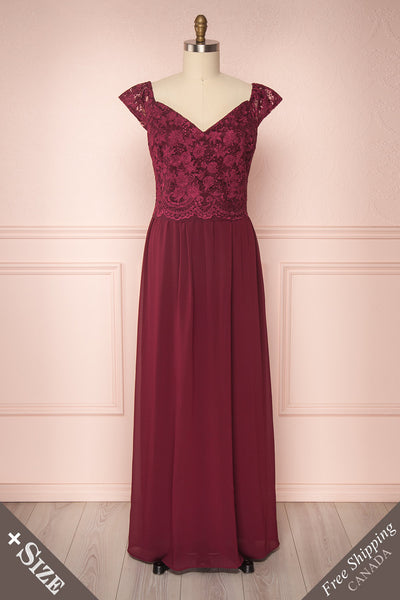 Cheana Cerise Burgundy Chiffon & Lace Plus Size Gown | Boutique 1861