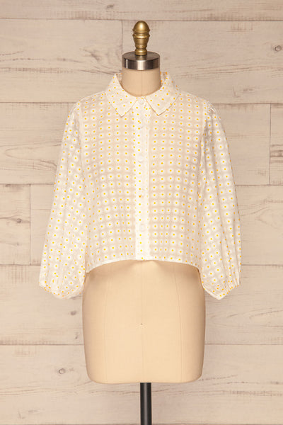 Chemnitz White Floral Puff Sleeved Sheer Blouse | La Petite Garçonne front view