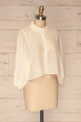 Chemnitz White Floral Puff Sleeved Sheer Blouse | La Petite Garçonne side view