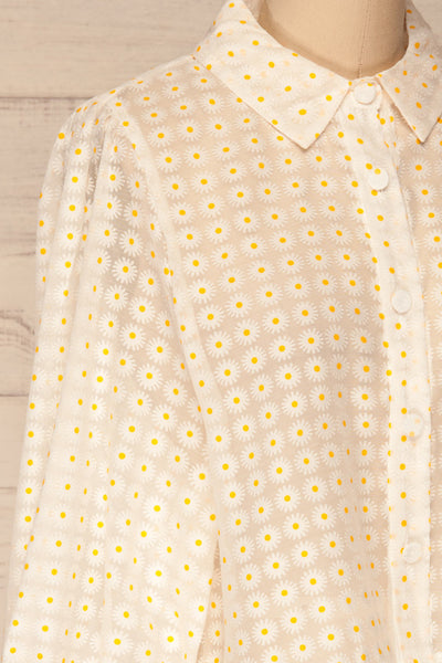 Chemnitz White Floral Puff Sleeved Sheer Blouse | La Petite Garçonne side close-up