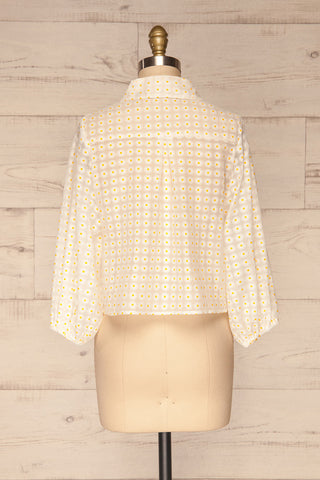 Chemnitz White Floral Puff Sleeved Sheer Blouse | La Petite Garçonne back view