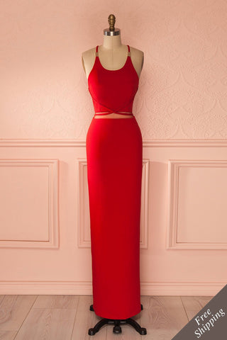 Cheska Passion - Red waist mesh cut-out halter gown