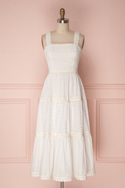 Chikma White & Ivory Embroidered Lace A-Line Dress front view | Boudoir 1861