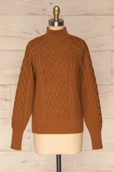Chimay Muscade Brown Knit Sweater  | FRONT VIEW | La Petite Garçonne