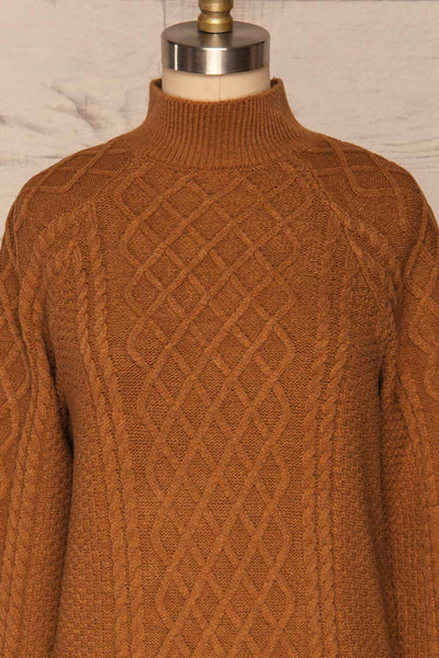 Chimay Muscade Brown Knit Sweater  | FRONT CLOSE UP | La Petite Garçonne