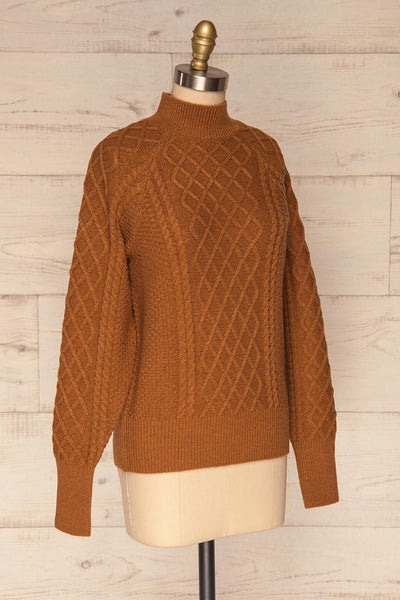 Chimay Muscade Brown Knit Sweater  | SIDE VIEW | La Petite Garçonne
